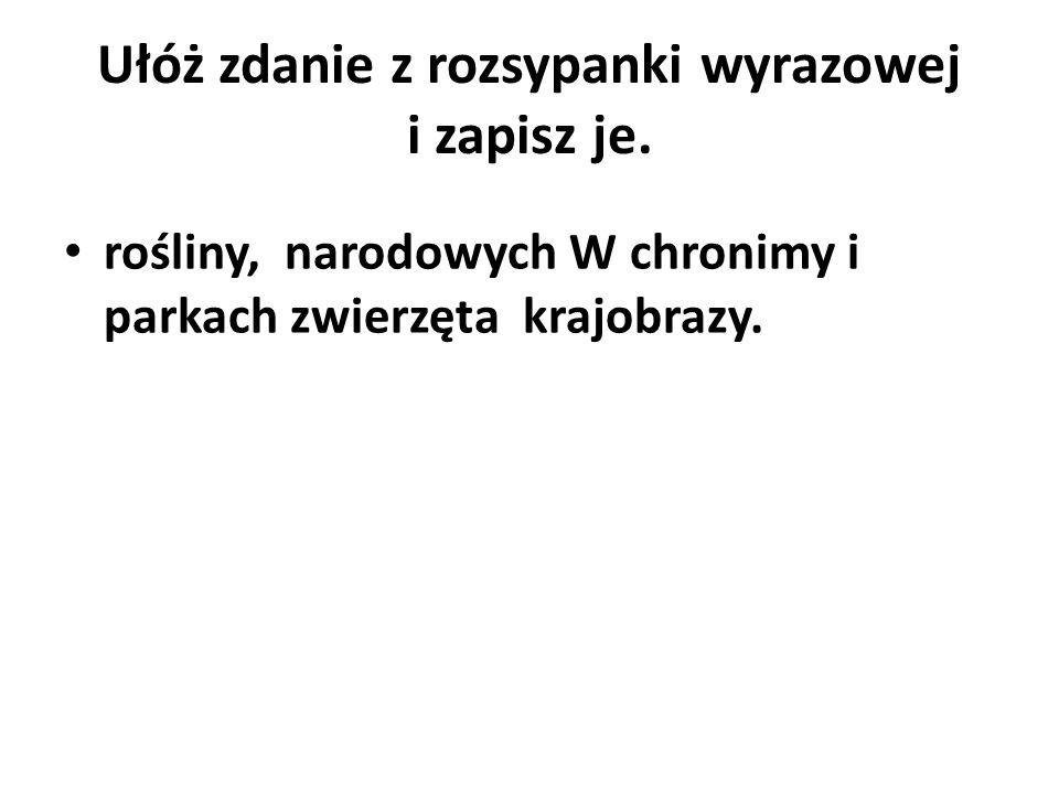 Ułóż zdanie z rozsypanki wyrazowej i zapisz je.