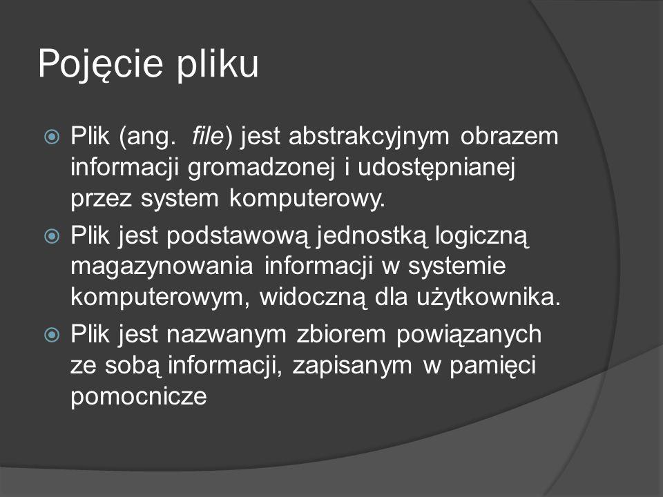 Pojęcie pliku  Plik (ang. file) jest abstrakcyjnym obrazem informacji gromadzonej i udostępnianej przez system komputerowy.  Plik jest podstawową je