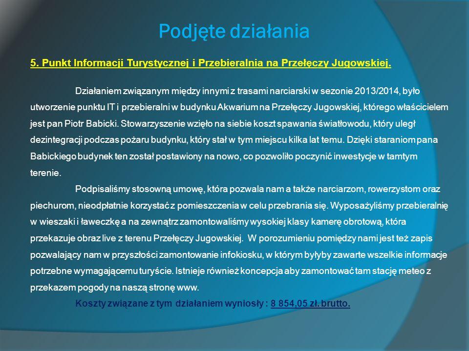 Podjęte działania 5. Punkt Informacji Turystycznej i Przebieralnia na Przełęczy Jugowskiej. Działaniem związanym między innymi z trasami narciarski w