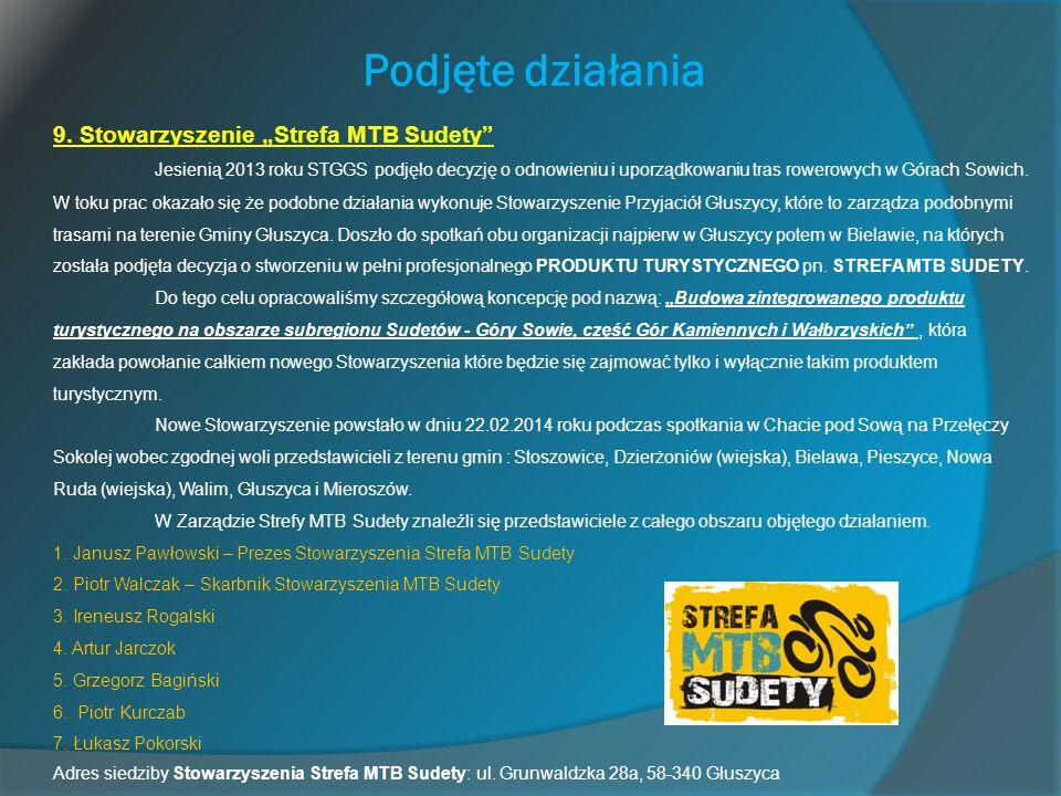 """Podjęte działania 9. Stowarzyszenie """"Strefa MTB Sudety"""" Jesienią 2013 roku STGGS podjęło decyzję o odnowieniu i uporządkowaniu tras rowerowych w Górac"""