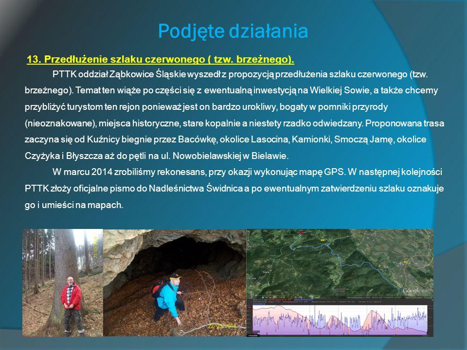 Podjęte działania 13. Przedłużenie szlaku czerwonego ( tzw. brzeżnego). PTTK oddział Ząbkowice Śląskie wyszedł z propozycją przedłużenia szlaku czerwo