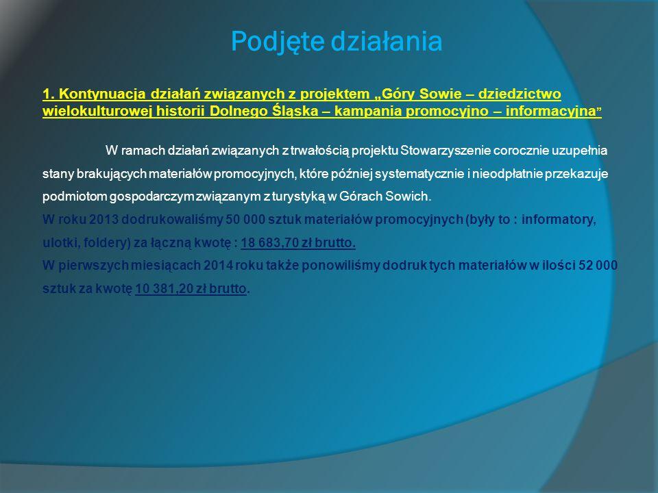 """Podjęte działania 1. Kontynuacja działań związanych z projektem """"Góry Sowie – dziedzictwo wielokulturowej historii Dolnego Śląska – kampania promocyjn"""