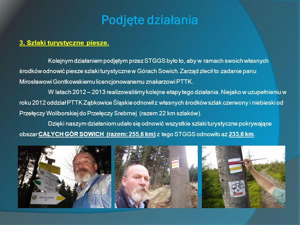 Podjęte działania 3. Szlaki turystyczne piesze. Kolejnym działaniem podjętym przez STGGS było to, aby w ramach swoich własnych środków odnowić piesze