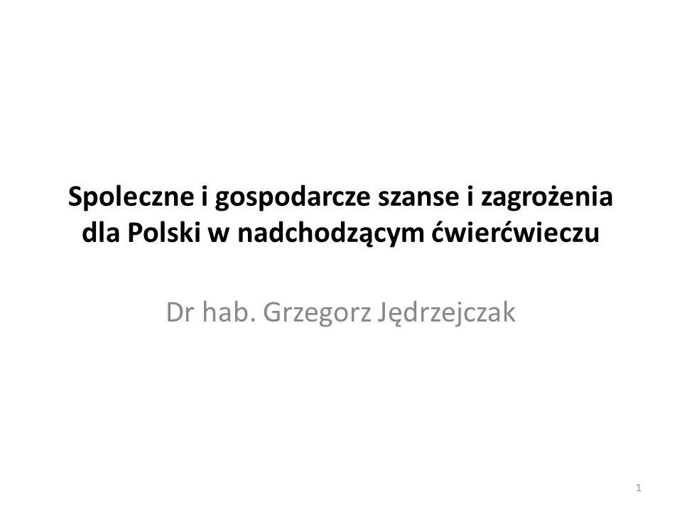 Spoleczne i gospodarcze szanse i zagrożenia dla Polski w nadchodzącym ćwierćwieczu Dr hab.