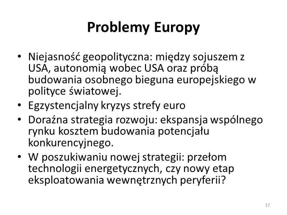 Problemy Europy Niejasność geopolityczna: między sojuszem z USA, autonomią wobec USA oraz próbą budowania osobnego bieguna europejskiego w polityce światowej.