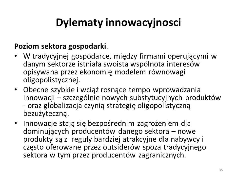 Dylematy innowacyjnosci Poziom sektora gospodarki.