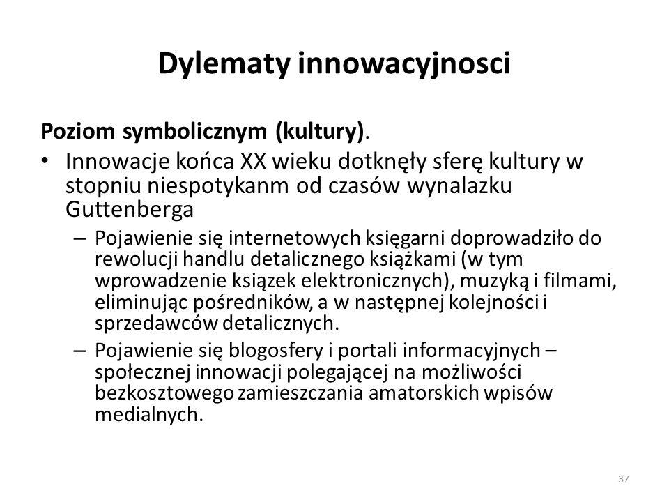 Dylematy innowacyjnosci Poziom symbolicznym (kultury).