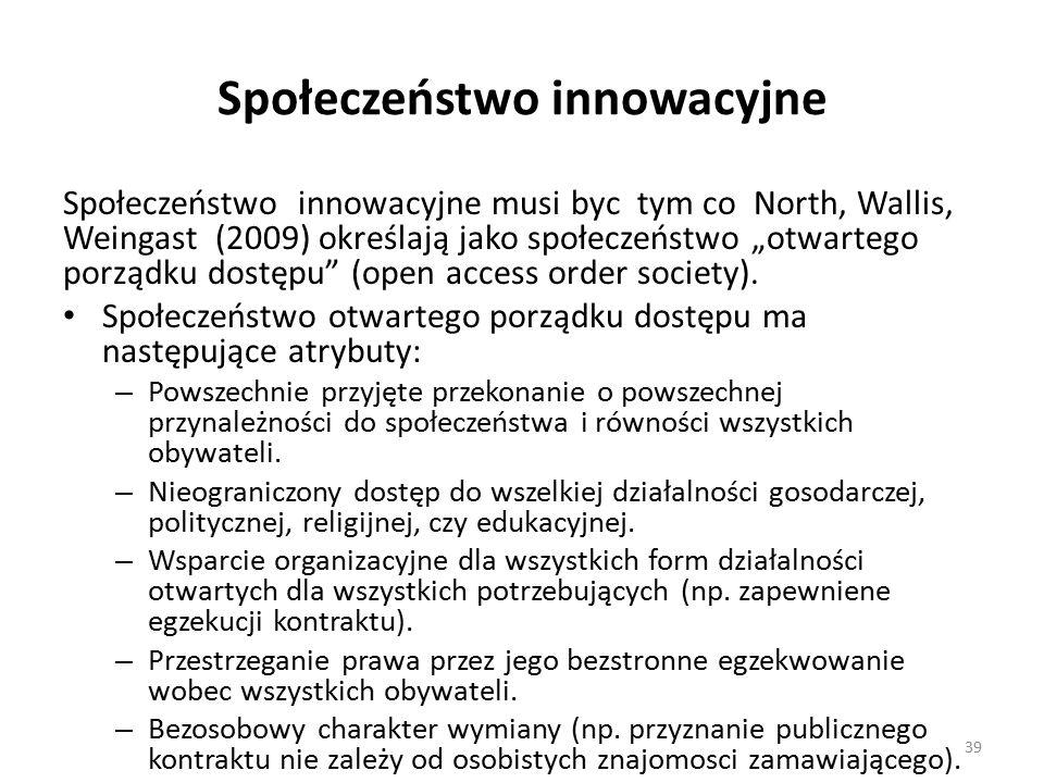 """Społeczeństwo innowacyjne Społeczeństwo innowacyjne musi byc tym co North, Wallis, Weingast (2009) określają jako społeczeństwo """"otwartego porządku dostępu (open access order society)."""