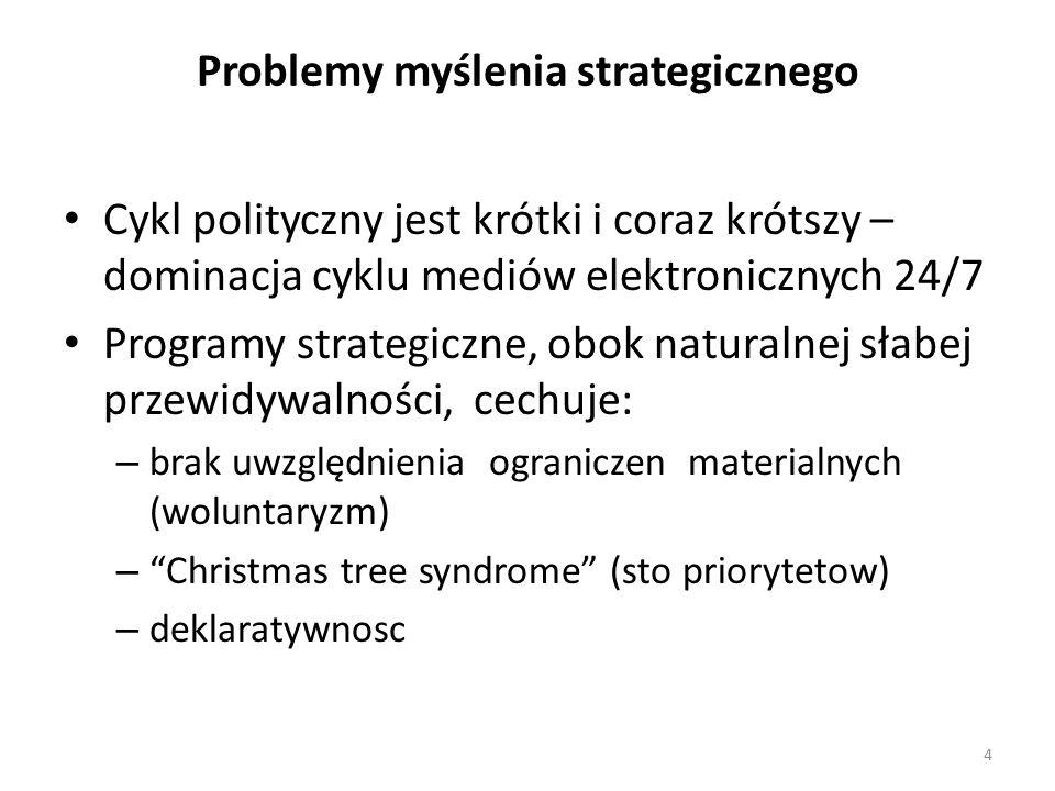 Cykl polityczny jest krótki i coraz krótszy – dominacja cyklu mediów elektronicznych 24/7 Programy strategiczne, obok naturalnej słabej przewidywalności, cechuje: – brak uwzględnienia ograniczen materialnych (woluntaryzm) – Christmas tree syndrome (sto priorytetow) – deklaratywnosc 4