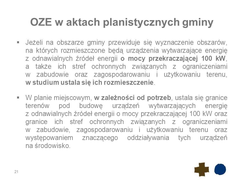 OZE w aktach planistycznych gminy  Jeżeli na obszarze gminy przewiduje się wyznaczenie obszarów, na których rozmieszczone będą urządzenia wytwarzając