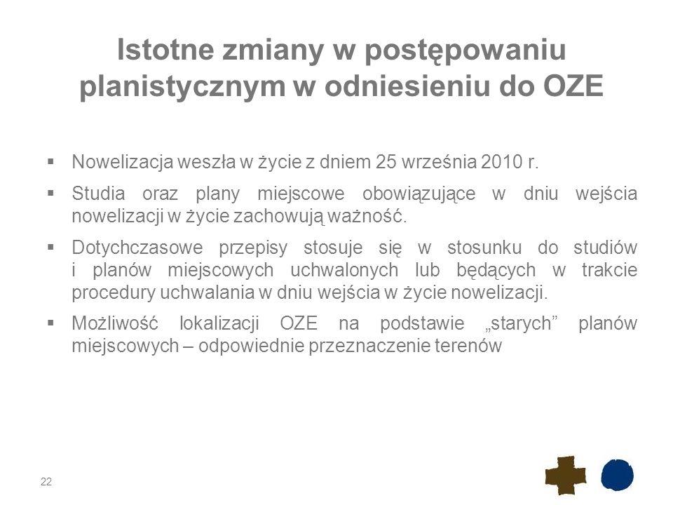 Istotne zmiany w postępowaniu planistycznym w odniesieniu do OZE  Nowelizacja weszła w życie z dniem 25 września 2010 r.  Studia oraz plany miejscow