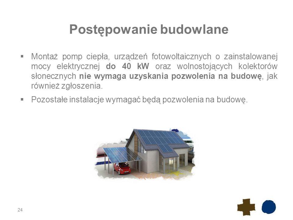 Postępowanie budowlane  Montaż pomp ciepła, urządzeń fotowoltaicznych o zainstalowanej mocy elektrycznej do 40 kW oraz wolnostojących kolektorów słonecznych nie wymaga uzyskania pozwolenia na budowę, jak również zgłoszenia.