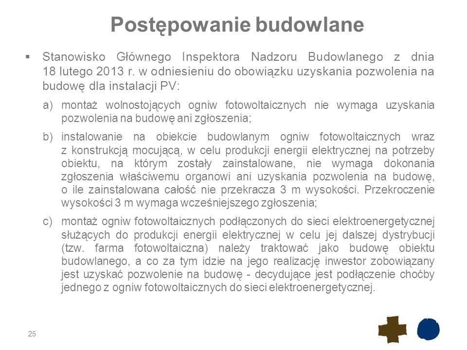 Postępowanie budowlane  Stanowisko Głównego Inspektora Nadzoru Budowlanego z dnia 18 lutego 2013 r.