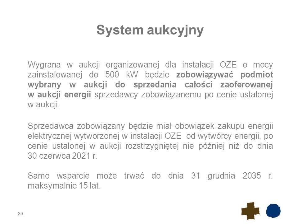 30 System aukcyjny Wygrana w aukcji organizowanej dla instalacji OZE o mocy zainstalowanej do 500 kW będzie zobowiązywać podmiot wybrany w aukcji do sprzedania całości zaoferowanej w aukcji energii sprzedawcy zobowiązanemu po cenie ustalonej w aukcji.
