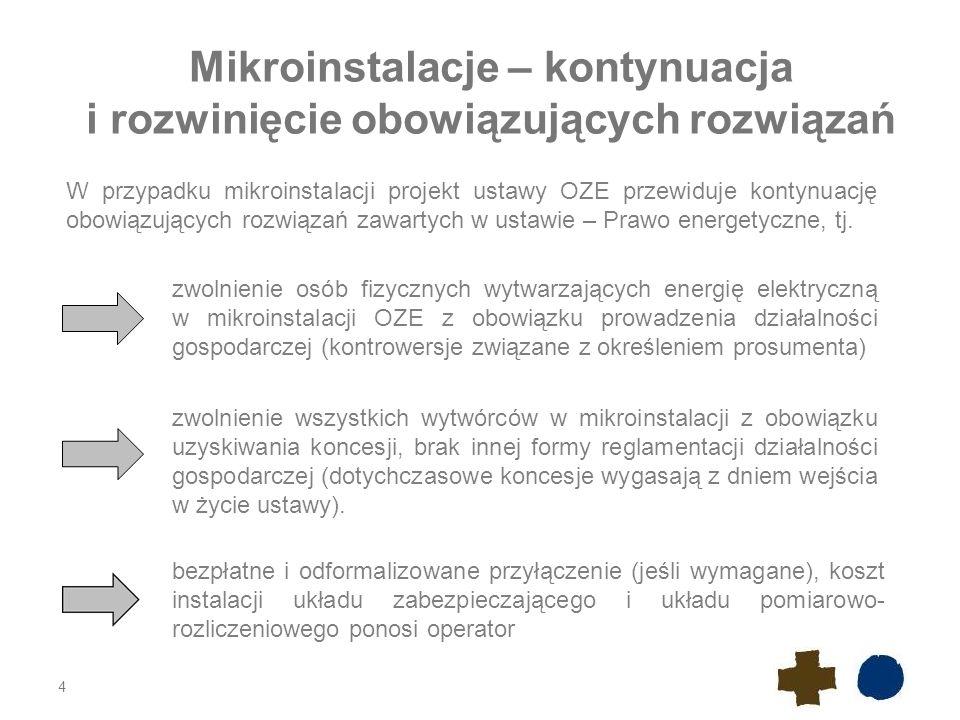 4 Mikroinstalacje – kontynuacja i rozwinięcie obowiązujących rozwiązań W przypadku mikroinstalacji projekt ustawy OZE przewiduje kontynuację obowiązujących rozwiązań zawartych w ustawie – Prawo energetyczne, tj.