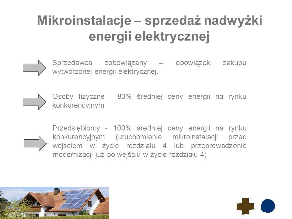 5 Mikroinstalacje – sprzedaż nadwyżki energii elektrycznej Osoby fizyczne - 80% średniej ceny energii na rynku konkurencyjnym Przedsiębiorcy - 100% średniej ceny energii na rynku konkurencyjnym (uruchomienie mikroinstalacji przed wejściem w życie rozdziału 4 lub przeprowadzenie modernizacji już po wejściu w życie rozdziału 4) Sprzedawca zobowiązany – obowiązek zakupu wytworzonej energii elektrycznej.