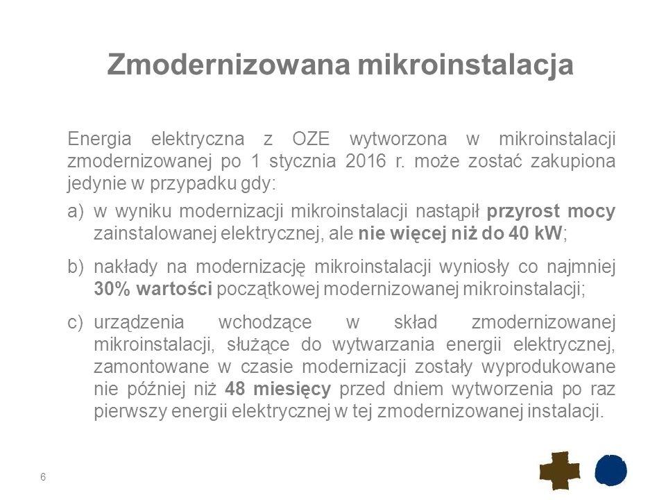6 Zmodernizowana mikroinstalacja Energia elektryczna z OZE wytworzona w mikroinstalacji zmodernizowanej po 1 stycznia 2016 r. może zostać zakupiona je