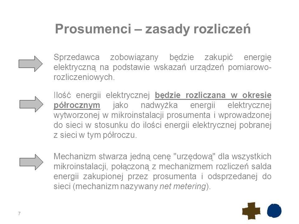 7 Prosumenci – zasady rozliczeń Sprzedawca zobowiązany będzie zakupić energię elektryczną na podstawie wskazań urządzeń pomiarowo- rozliczeniowych.