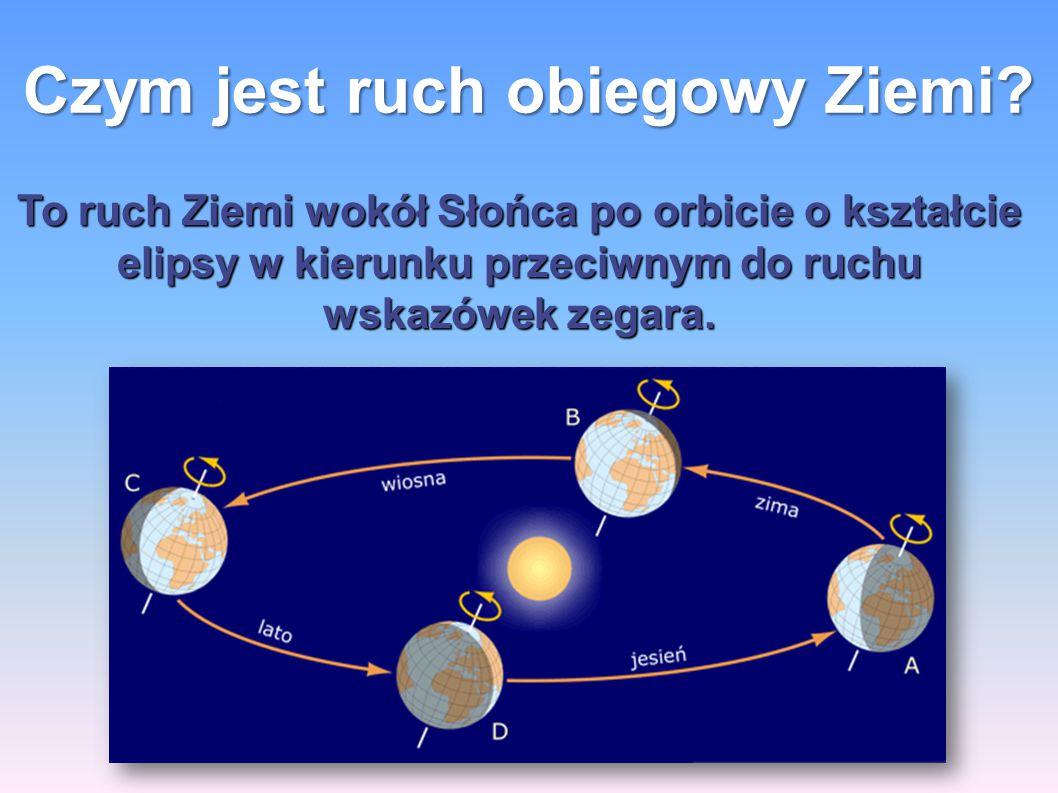 Czym jest ruch obiegowy Ziemi? To ruch Ziemi wokół Słońca po orbicie o kształcie elipsy w kierunku przeciwnym do ruchu wskazówek zegara.