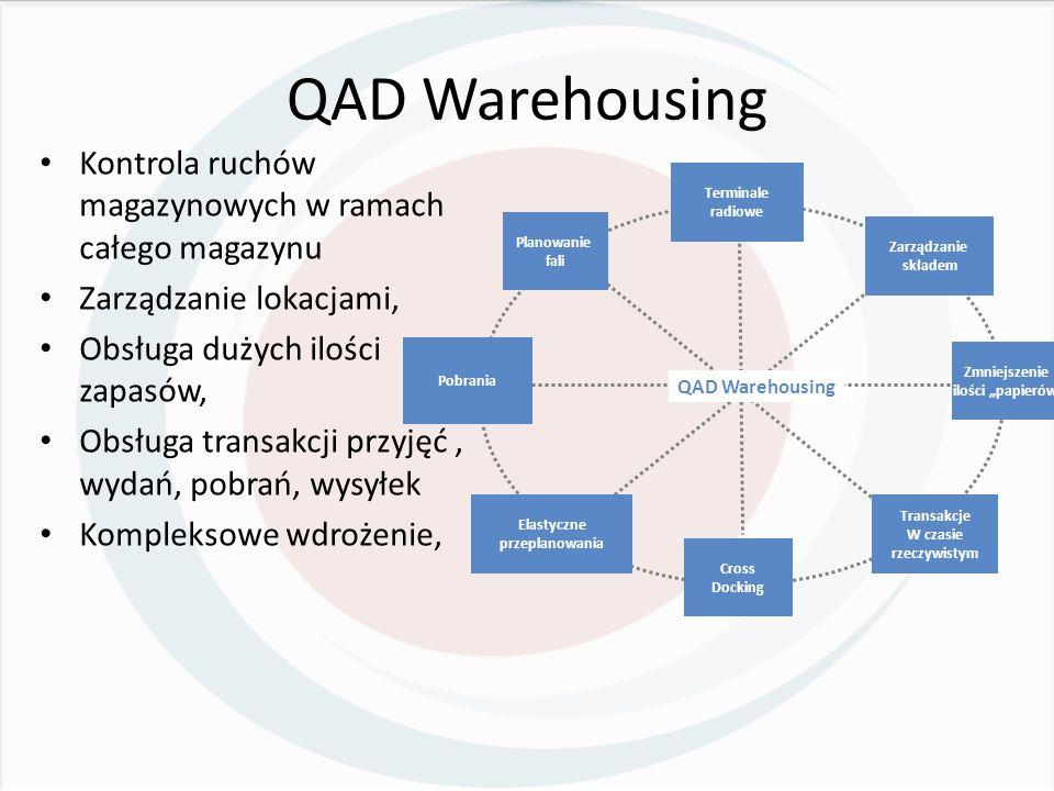 """QAD Warehousing Kontrola ruchów magazynowych w ramach całego magazynu Zarządzanie lokacjami, Obsługa dużych ilości zapasów, Obsługa transakcji przyjęć, wydań, pobrań, wysyłek Kompleksowe wdrożenie, Terminale radiowe Zmniejszenie ilości """"papierów Cross Docking Pobrania Zarządzanie składem Transakcje W czasie rzeczywistym Elastyczne przeplanowania Planowanie fali QAD Warehousing"""