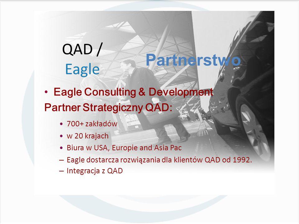 Eagle Consulting & Development Partner Strategiczny QAD: 700+ zakładów w 20 krajach Biura w USA, Europie and Asia Pac – Eagle dostarcza rozwiązania dla klientów QAD od 1992.