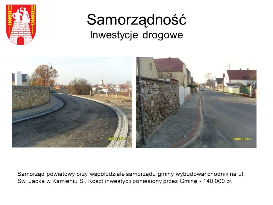 Samorządność Inwestycje drogowe Samorząd powiatowy przy współudziale samorządu gminy wybudował chodnik na ul.