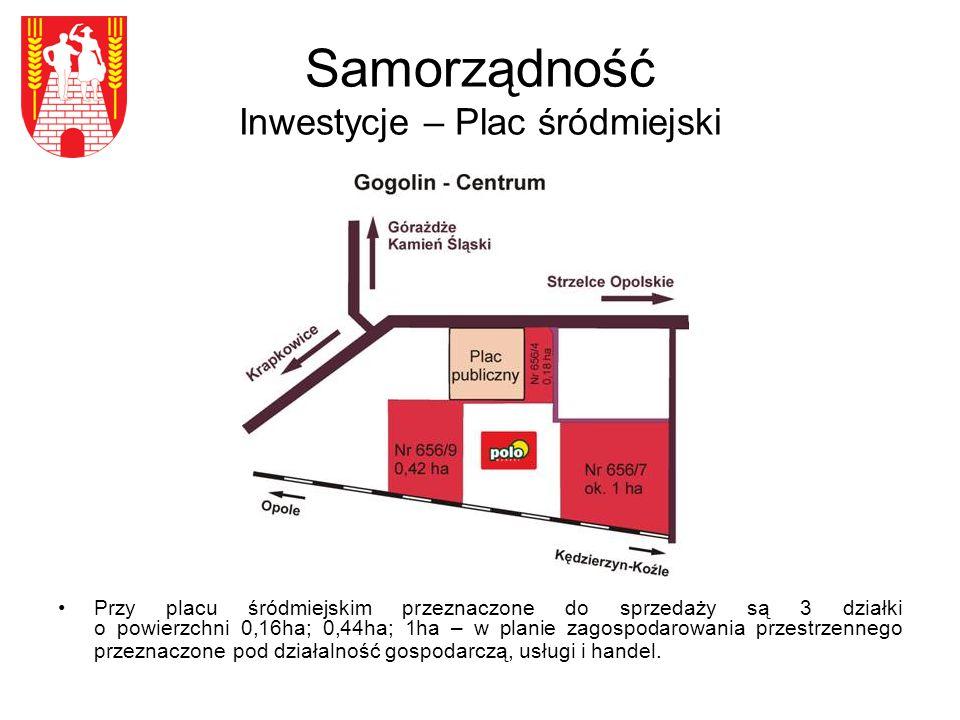 Samorządność Inwestycje – Plac śródmiejski Przy placu śródmiejskim przeznaczone do sprzedaży są 3 działki o powierzchni 0,16ha; 0,44ha; 1ha – w planie zagospodarowania przestrzennego przeznaczone pod działalność gospodarczą, usługi i handel.