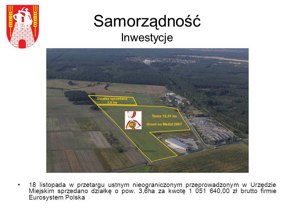 Samorządność Inwestycje 18 listopada w przetargu ustnym nieograniczonym przeprowadzonym w Urzędzie Miejskim sprzedano działkę o pow.