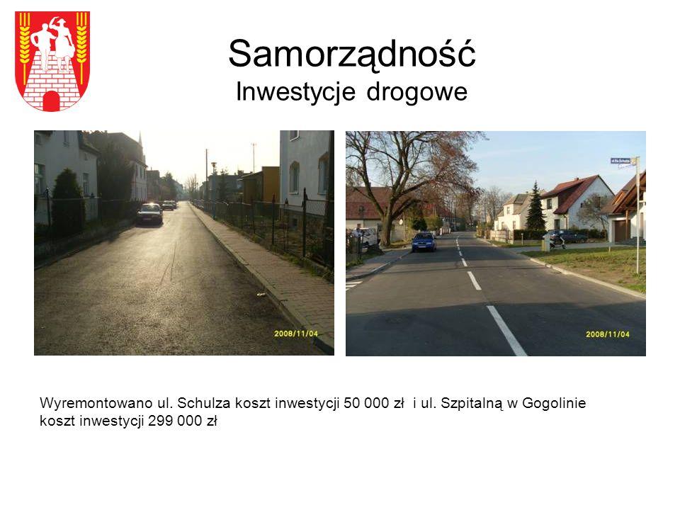 Samorządność Inwestycje drogowe Wyremontowano ul. Schulza koszt inwestycji 50 000 zł i ul.