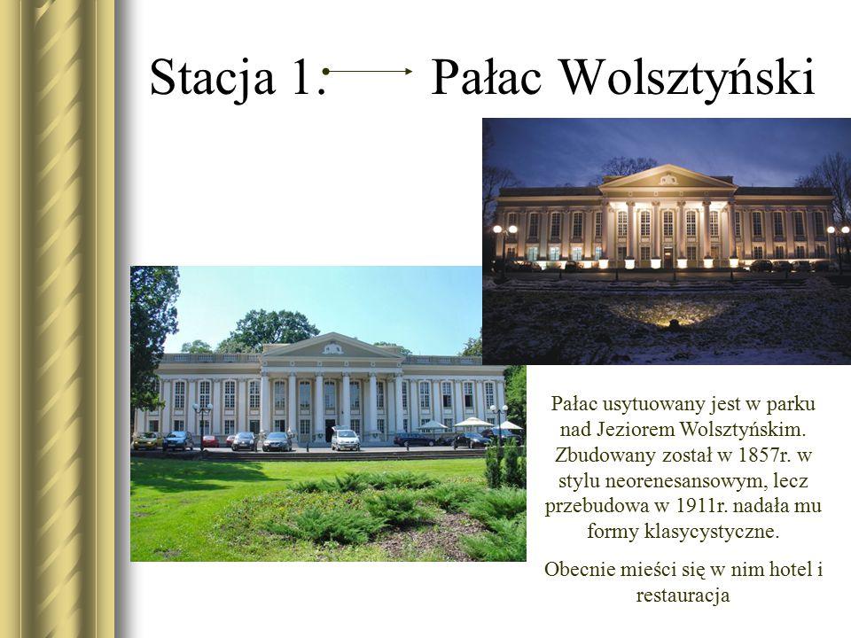Stacja 1. Pałac Wolsztyński Pałac usytuowany jest w parku nad Jeziorem Wolsztyńskim. Zbudowany został w 1857r. w stylu neorenesansowym, lecz przebudow