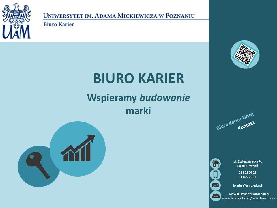 BIURO KARIER Wspieramy budowanie marki Kontakt Biuro Karier UAM ul. Zwierzyniecka 7c 60-813 Poznań 61 829 24 28 61 829 25 11 bkarier@amu.edu.pl www.bi