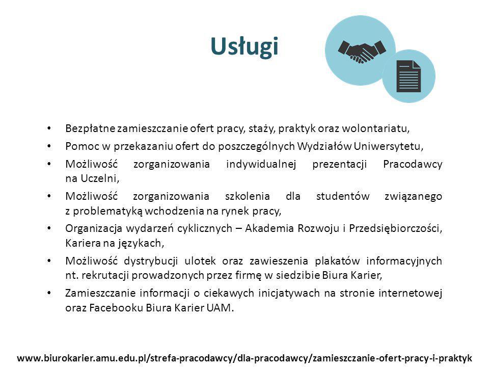 Usługi Bezpłatne zamieszczanie ofert pracy, staży, praktyk oraz wolontariatu, Pomoc w przekazaniu ofert do poszczególnych Wydziałów Uniwersytetu, Możl
