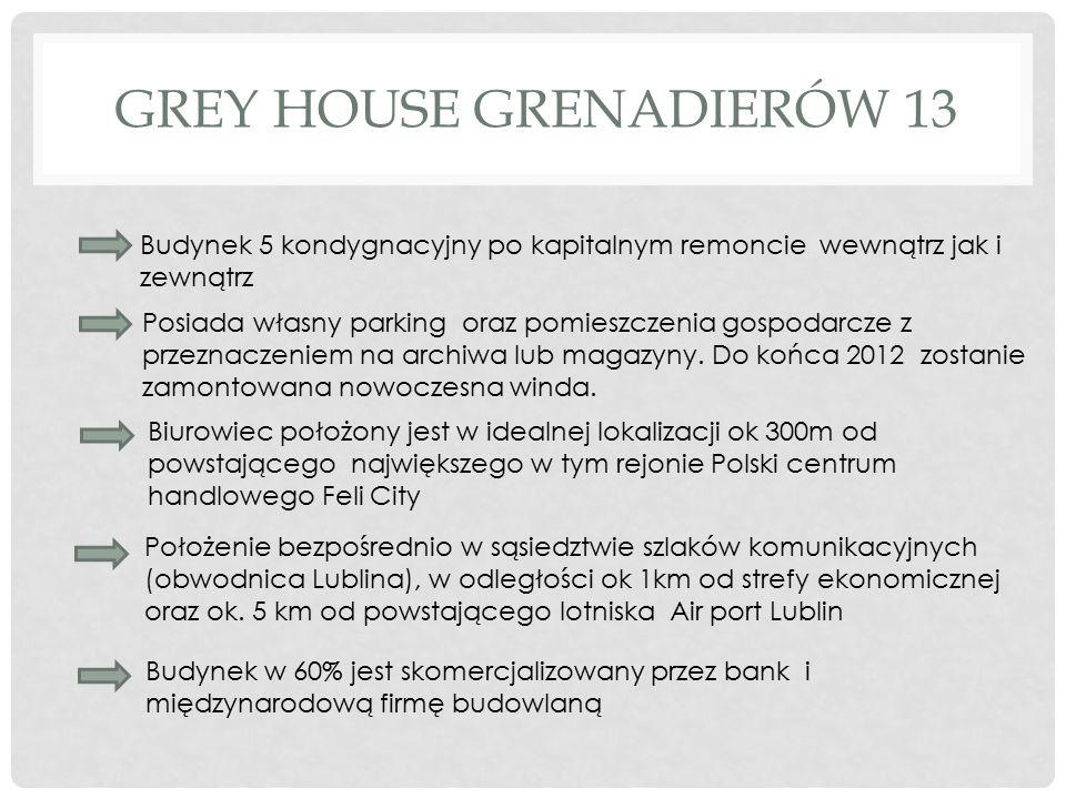 GREY HOUSE GRENADIERÓW 13 Budynek 5 kondygnacyjny po kapitalnym remoncie wewnątrz jak i zewnątrz Posiada własny parking oraz pomieszczenia gospodarcze