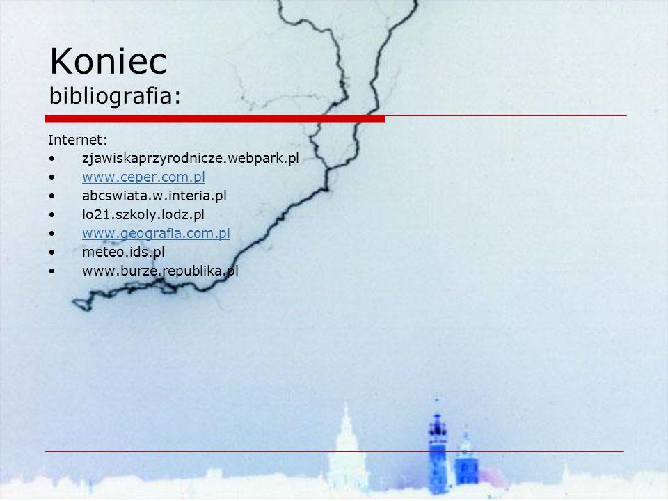 Koniec bibliografia: Internet: zjawiskaprzyrodnicze.webpark.pl www.ceper.com.pl abcswiata.w.interia.pl lo21.szkoly.lodz.pl www.geografia.com.pl meteo.