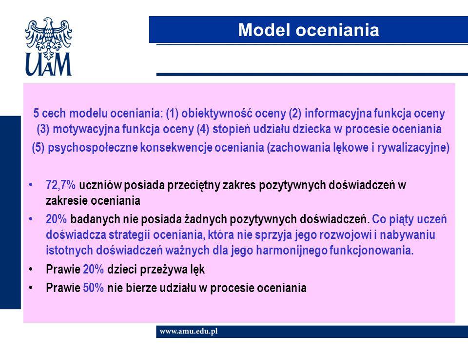 5 cech modelu oceniania: (1) obiektywność oceny (2) informacyjna funkcja oceny (3) motywacyjna funkcja oceny (4) stopień udziału dziecka w procesie oc