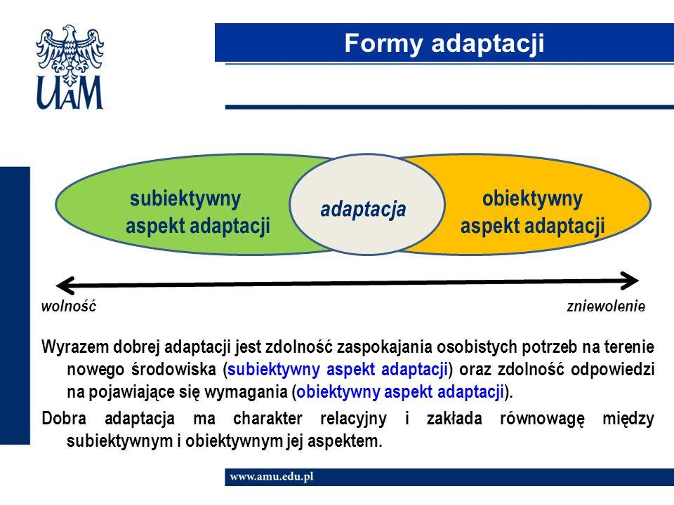 wolność zniewolenie Formy adaptacji adaptacja subiektywny aspekt adaptacji obiektywny aspekt adaptacji Wyrazem dobrej adaptacji jest zdolność zaspokaj