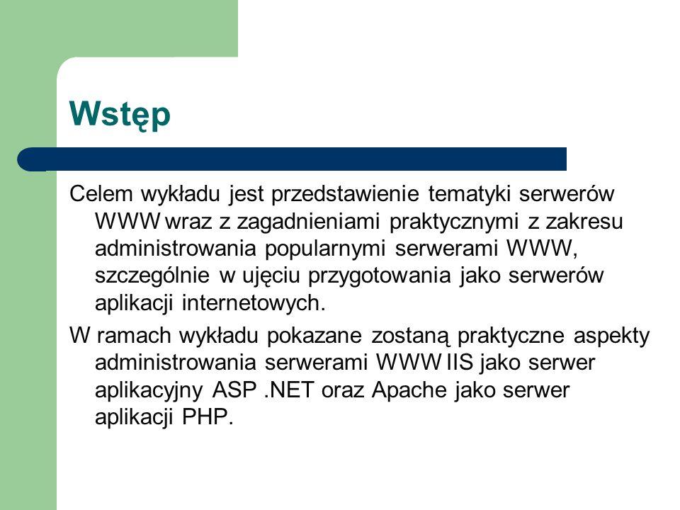 Wstęp Celem wykładu jest przedstawienie tematyki serwerów WWW wraz z zagadnieniami praktycznymi z zakresu administrowania popularnymi serwerami WWW, szczególnie w ujęciu przygotowania jako serwerów aplikacji internetowych.