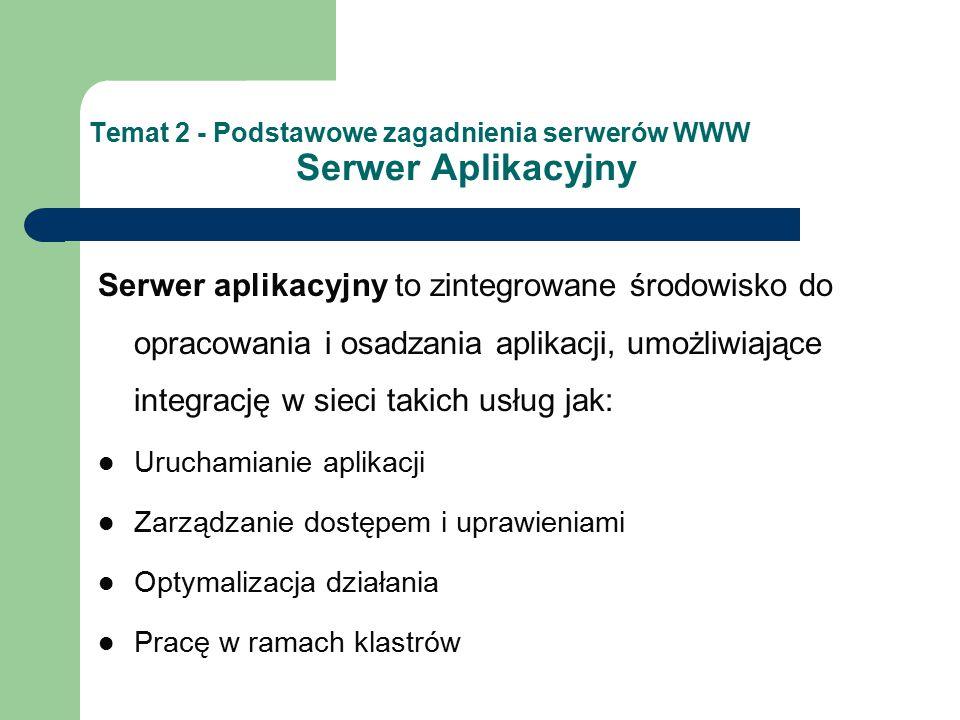 Temat 2 - Podstawowe zagadnienia serwerów WWW Serwer Aplikacyjny Serwer aplikacyjny to zintegrowane środowisko do opracowania i osadzania aplikacji, u