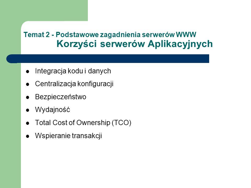 Temat 2 - Podstawowe zagadnienia serwerów WWW Korzyści serwerów Aplikacyjnych Integracja kodu i danych Centralizacja konfiguracji Bezpieczeństwo Wydajność Total Cost of Ownership (TCO) Wspieranie transakcji