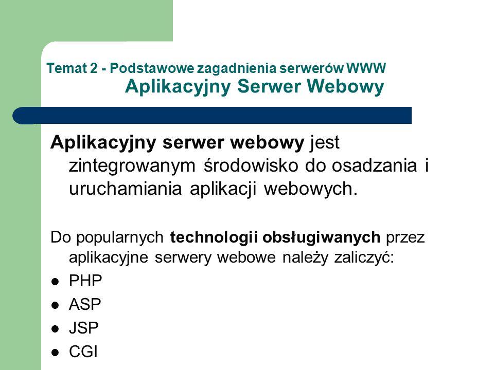 Temat 2 - Podstawowe zagadnienia serwerów WWW Aplikacyjny Serwer Webowy Aplikacyjny serwer webowy jest zintegrowanym środowisko do osadzania i uruchamiania aplikacji webowych.