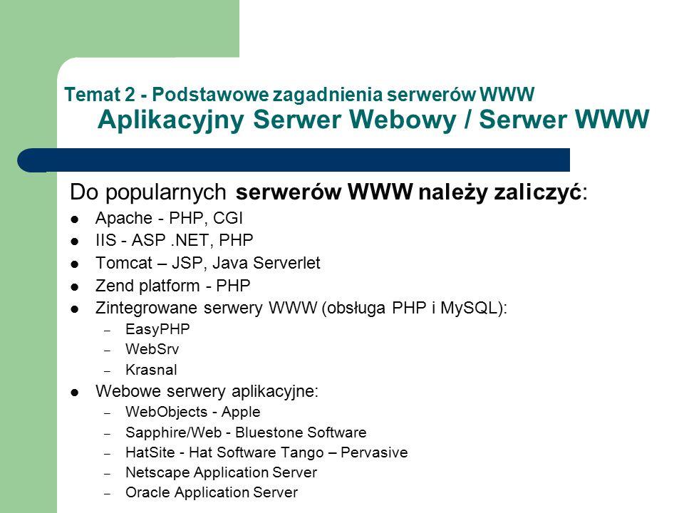 Temat 2 - Podstawowe zagadnienia serwerów WWW Aplikacyjny Serwer Webowy / Serwer WWW Do popularnych serwerów WWW należy zaliczyć: Apache - PHP, CGI IIS - ASP.NET, PHP Tomcat – JSP, Java Serverlet Zend platform - PHP Zintegrowane serwery WWW (obsługa PHP i MySQL): – EasyPHP – WebSrv – Krasnal Webowe serwery aplikacyjne: – WebObjects - Apple – Sapphire/Web - Bluestone Software – HatSite - Hat Software Tango – Pervasive – Netscape Application Server – Oracle Application Server