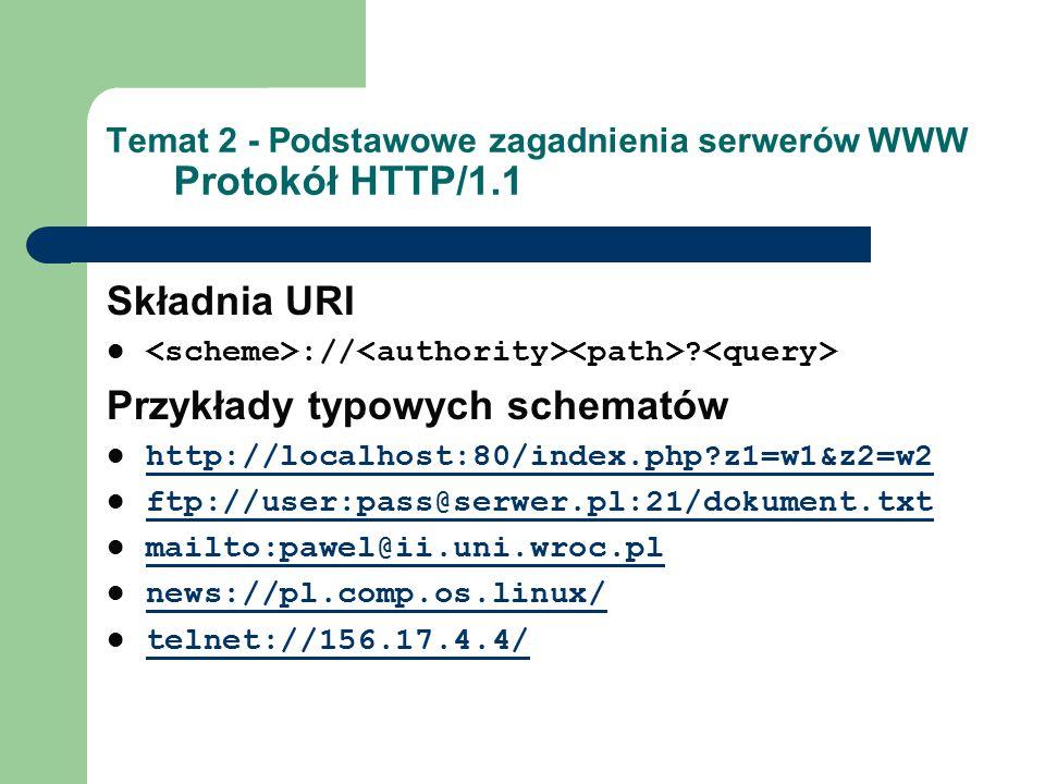Temat 2 - Podstawowe zagadnienia serwerów WWW Protokół HTTP/1.1 Składnia URI :// ? Przykłady typowych schematów http://localhost:80/index.php?z1=w1&z2