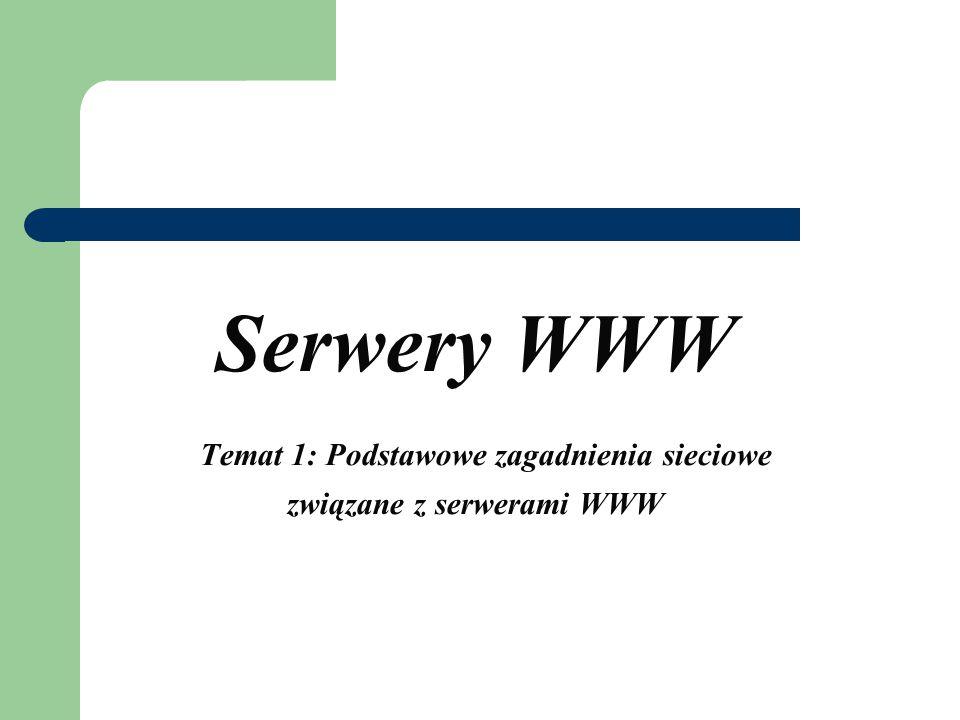 Serwery WWW Temat 1: Podstawowe zagadnienia sieciowe związane z serwerami WWW
