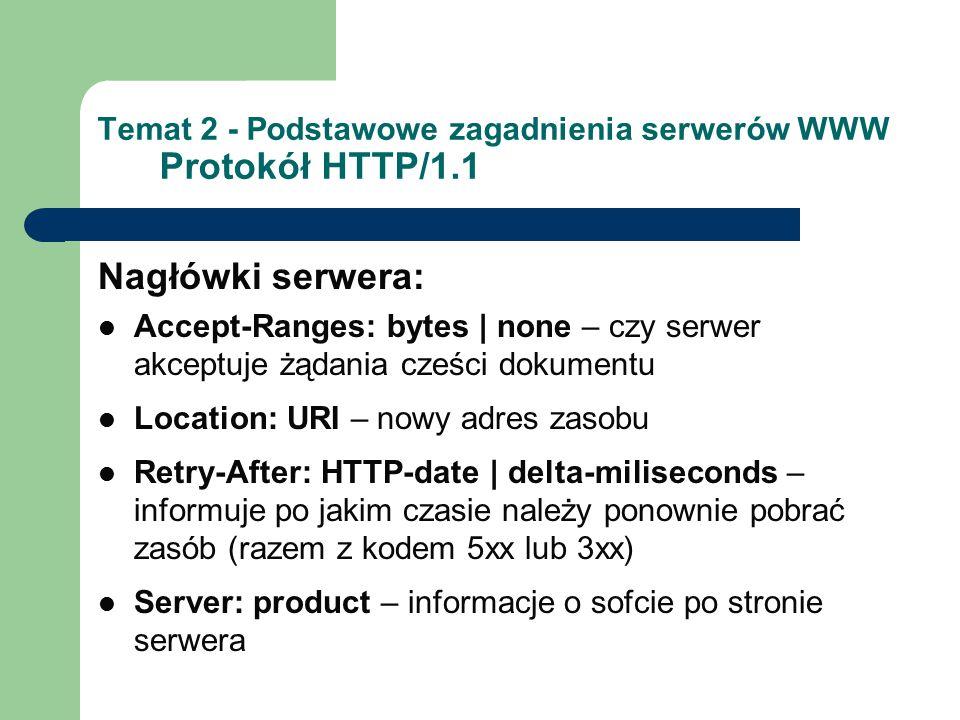 Temat 2 - Podstawowe zagadnienia serwerów WWW Protokół HTTP/1.1 Nagłówki serwera: Accept-Ranges: bytes | none – czy serwer akceptuje żądania cześci do