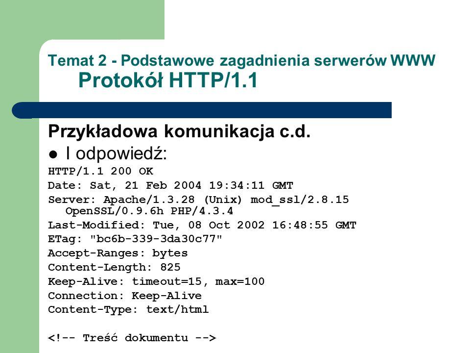 Temat 2 - Podstawowe zagadnienia serwerów WWW Protokół HTTP/1.1 Przykładowa komunikacja c.d. I odpowiedź: HTTP/1.1 200 OK Date: Sat, 21 Feb 2004 19:34