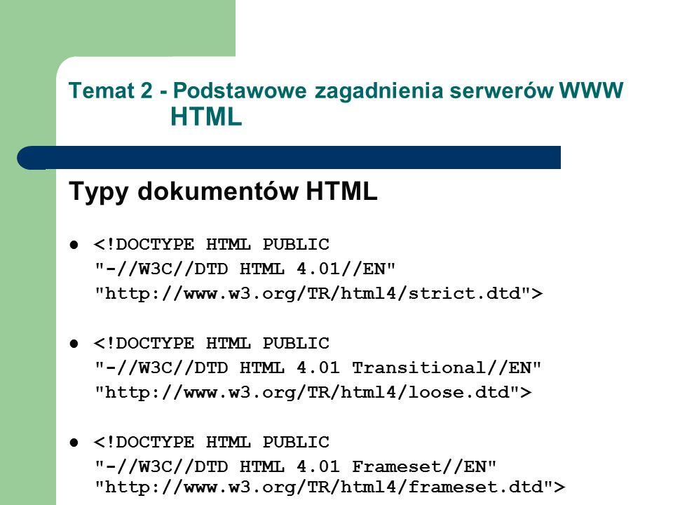 Temat 2 - Podstawowe zagadnienia serwerów WWW HTML Typy dokumentów HTML <!DOCTYPE HTML PUBLIC -//W3C//DTD HTML 4.01//EN http://www.w3.org/TR/html4/strict.dtd > <!DOCTYPE HTML PUBLIC -//W3C//DTD HTML 4.01 Transitional//EN http://www.w3.org/TR/html4/loose.dtd > <!DOCTYPE HTML PUBLIC -//W3C//DTD HTML 4.01 Frameset//EN http://www.w3.org/TR/html4/frameset.dtd >
