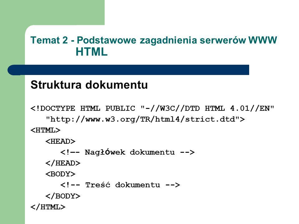 Temat 2 - Podstawowe zagadnienia serwerów WWW HTML Struktura dokumentu <!DOCTYPE HTML PUBLIC -//W3C//DTD HTML 4.01//EN http://www.w3.org/TR/html4/strict.dtd >