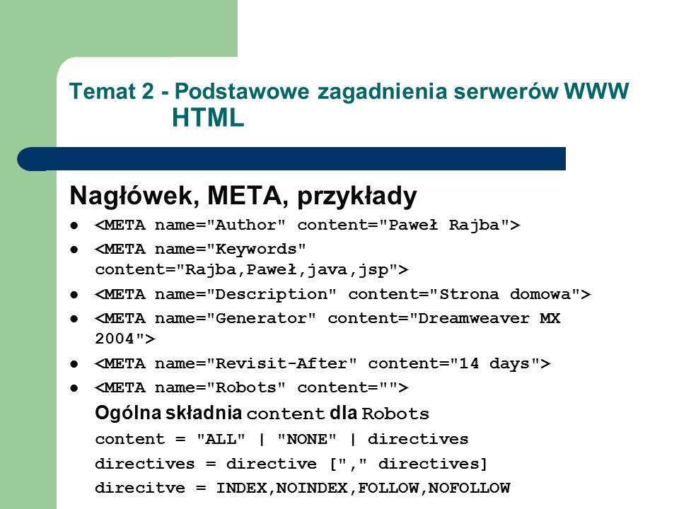 Temat 2 - Podstawowe zagadnienia serwerów WWW HTML Nagłówek, META, przykłady Ogólna składnia content dla Robots content = ALL | NONE | directives directives = directive [ , directives] direcitve = INDEX,NOINDEX,FOLLOW,NOFOLLOW