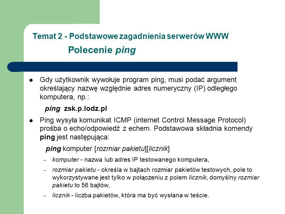 Temat 2 - Podstawowe zagadnienia serwerów WWW Polecenie ping Gdy użytkownik wywołuje program ping, musi podać argument określający nazwę względnie adres numeryczny (IP) odległego komputera, np.: ping zsk.p.lodz.pl Ping wysyła komunikat ICMP (internet Control Message Protocol) prośba o echo/odpowiedź z echem.