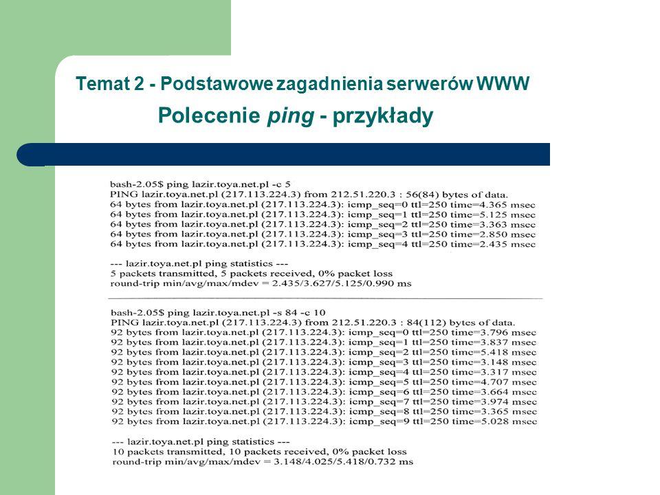 Temat 2 - Podstawowe zagadnienia serwerów WWW Polecenie ping - przykłady